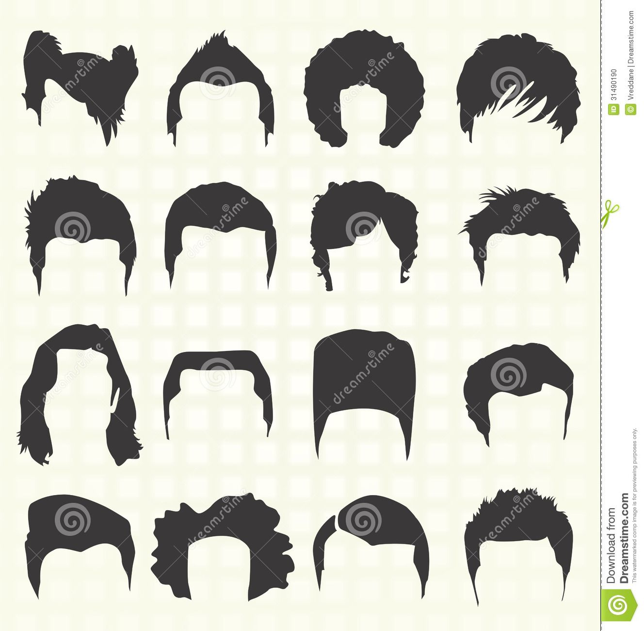 guy curly hair wig clipart.