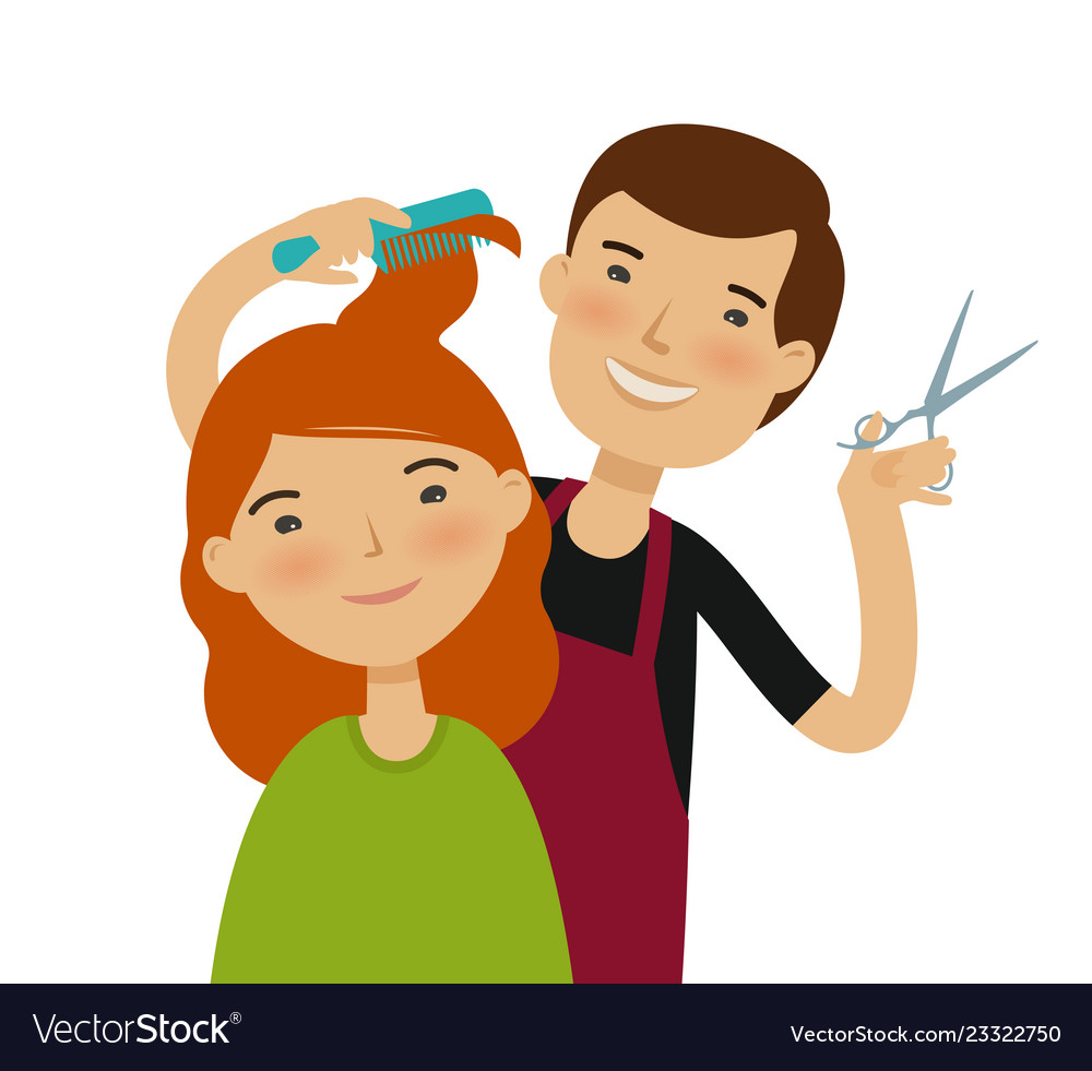 Hairstylist cutting hair womens haircut beauty.