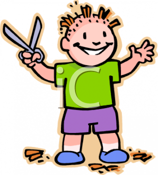 Boy Hair Cutting Clipart.