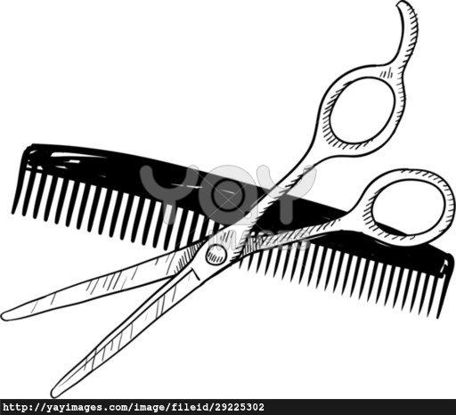hair cutting scissor outline clipart - Clipground