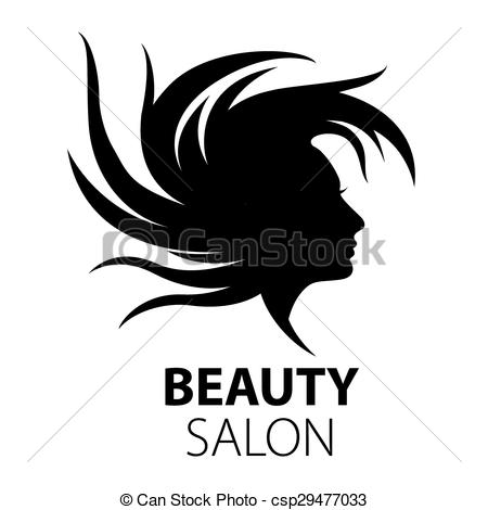 Vectors of vector logo girl with flying hair for beauty salon.