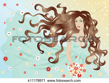 Clipart of woman with hair and dress flying in the wind k11178971.