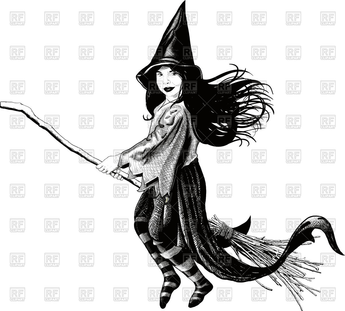 Little witch flying on her broom develop her dress and hair Vector.