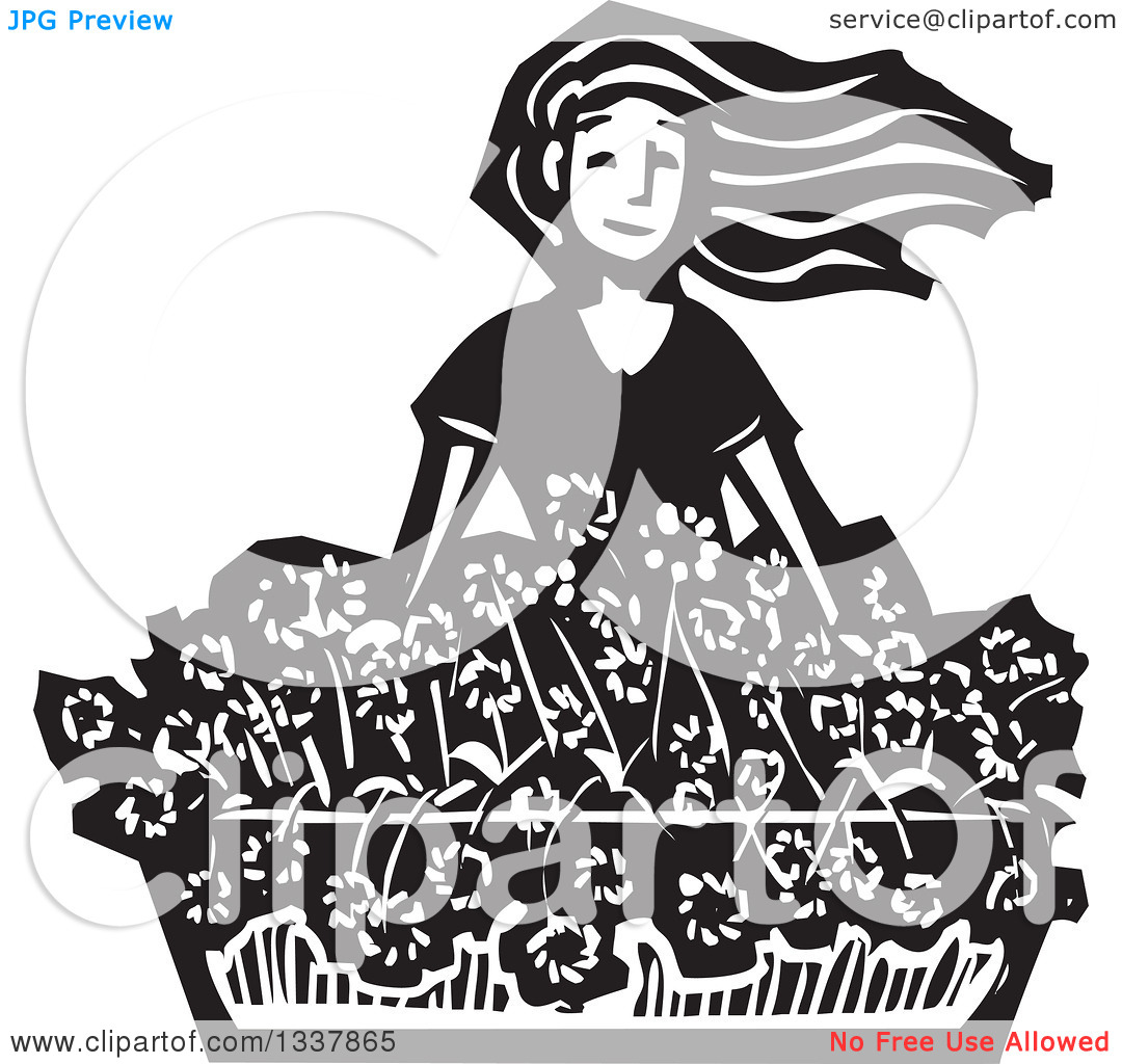 Clipart of a Black and White Woodcut Girl with Her Hair Flying in.