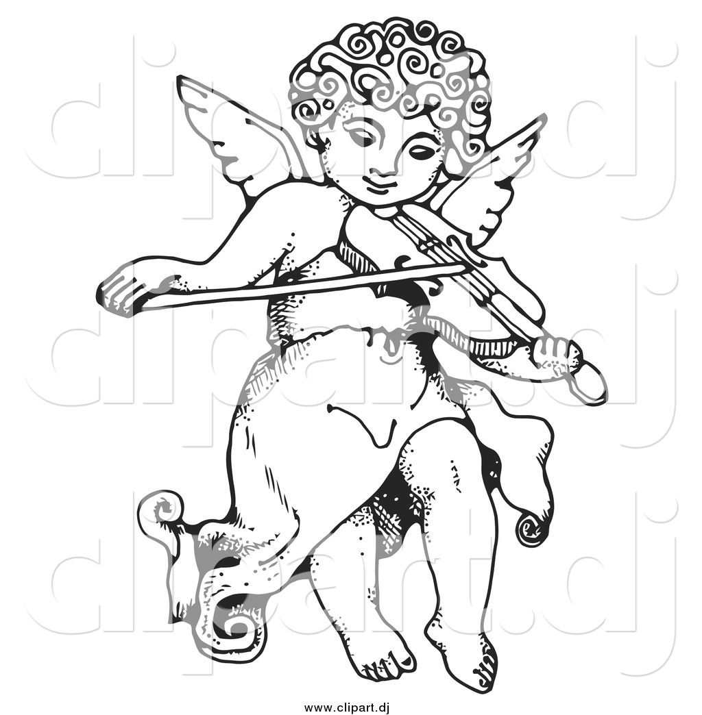 Vector Clipart of a Black and White Innocent Cherub with Curly.