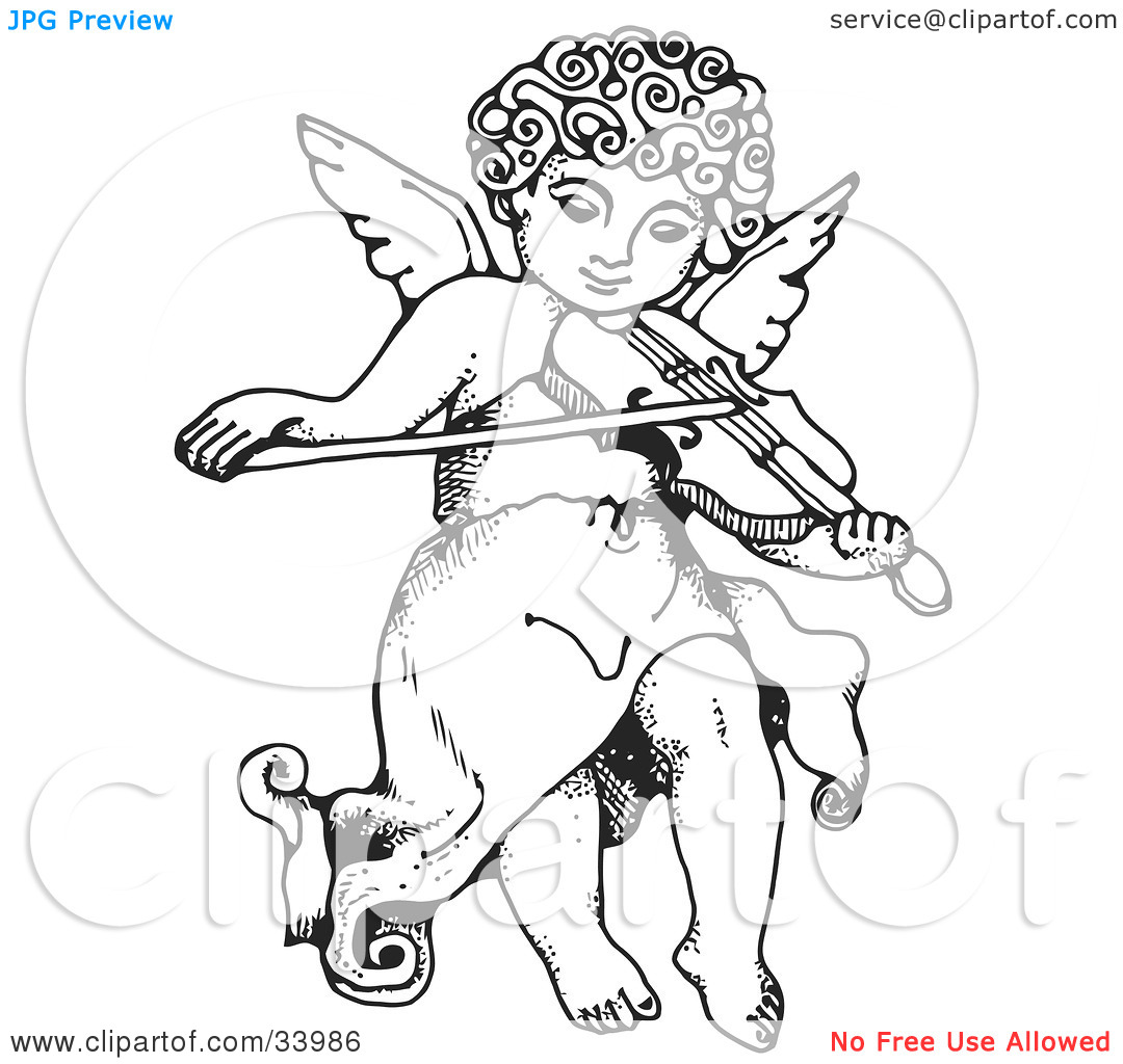 Clipart Illustration of an Innocent Cherub With Curly Hair, Flying.