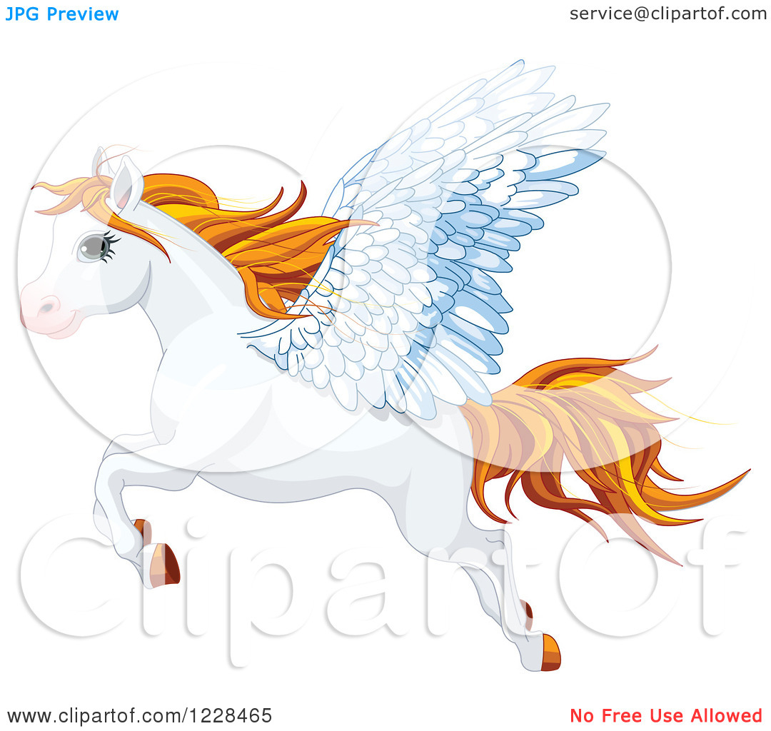 Clipart of a Flying White Winged Pegasus Horse with Orange Hair.