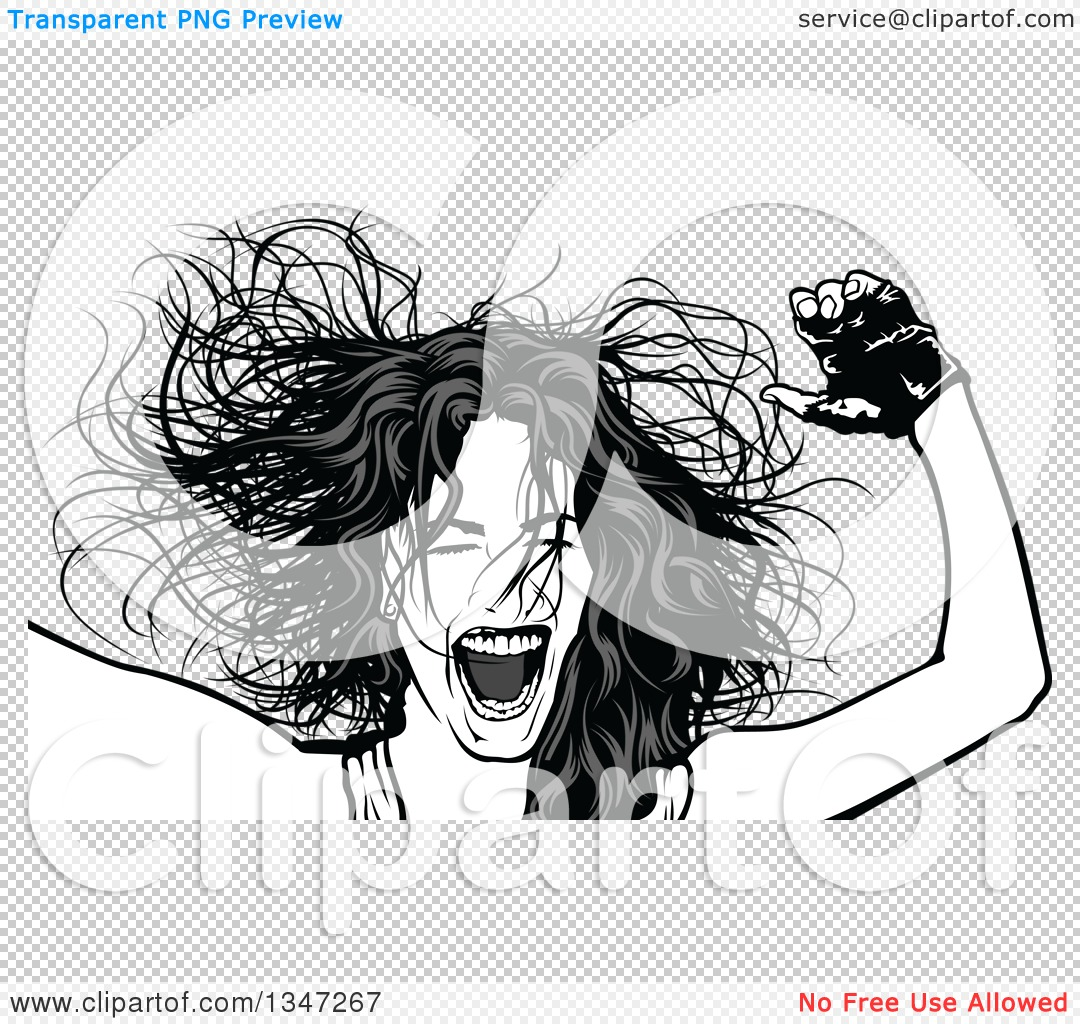 Clipart of a Grayscale Party Woman, Her Hair Flying.
