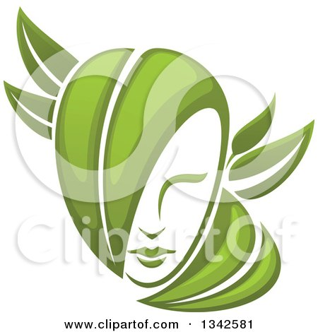 Clipart of a Woman's Face with Green Leaf Hair.