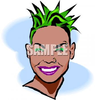 Black Punk Chick with Green Hair Clip Art.