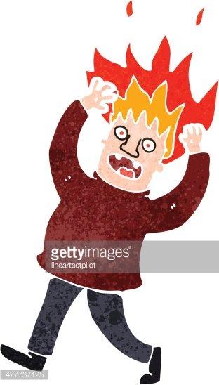 retro cartoon man with hair on fire Clipart Image.