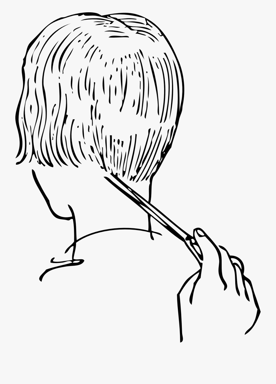 Outline Pictures Of Cutting Hair , Free Transparent Clipart.