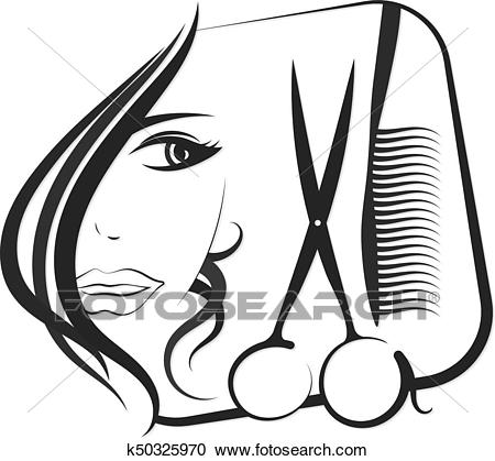 Profile girls for beauty and hair salon Clipart.