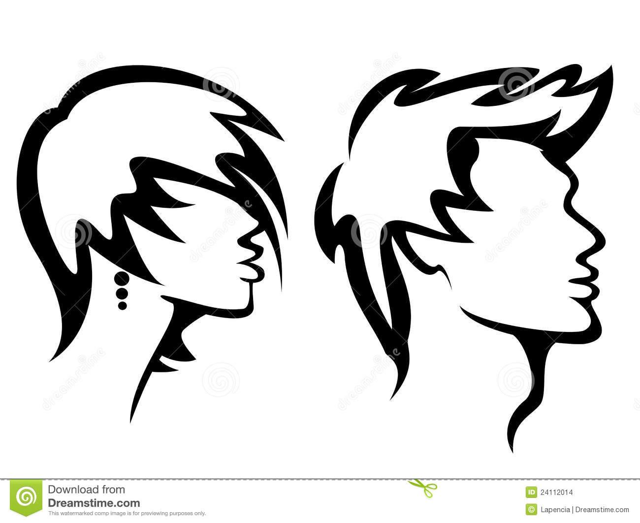 Hair style clip art.