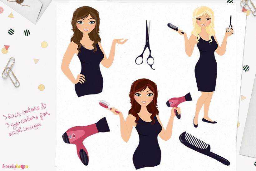 Woman hair stylist character clip art L101 Brook.