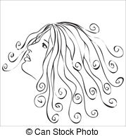 Clip Art of Woman with hearts in hair.