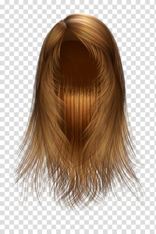 Hair Texture Renders , long brown wig transparent background.
