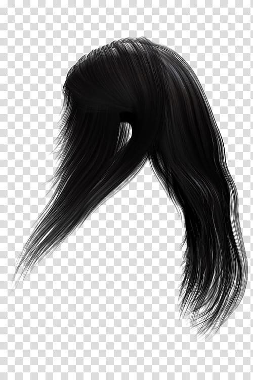 Hair Texture Renders , long black wig transparent background.