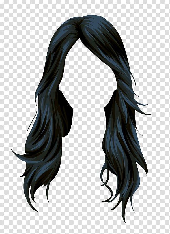 Black hair illustration, Stardoll Black hair Wig Long hair.