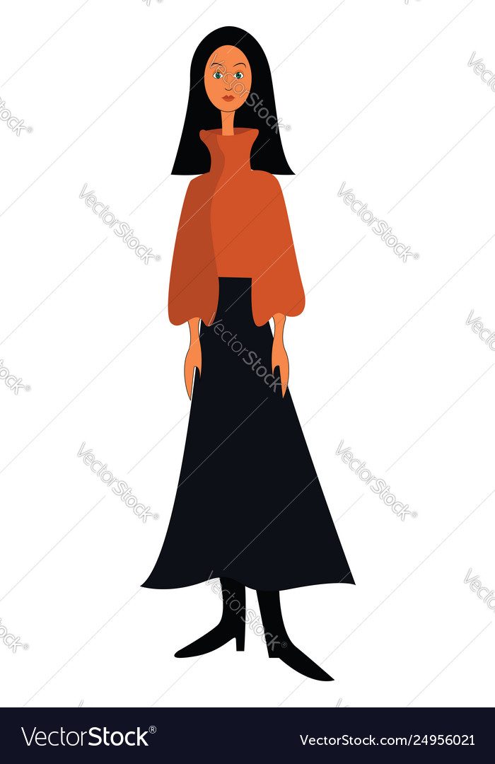 Clipart a girl with long black straight hair.