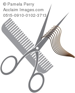 Clip Art Illustration of a Hair Cutting Icon.