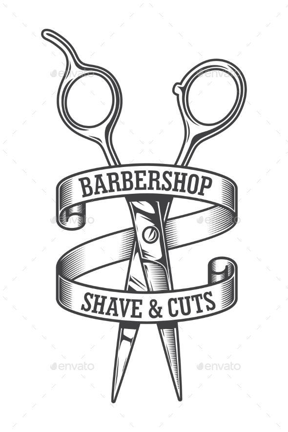 Vintage Monochrome Hairdresser Salon Logotype #Monochrome.