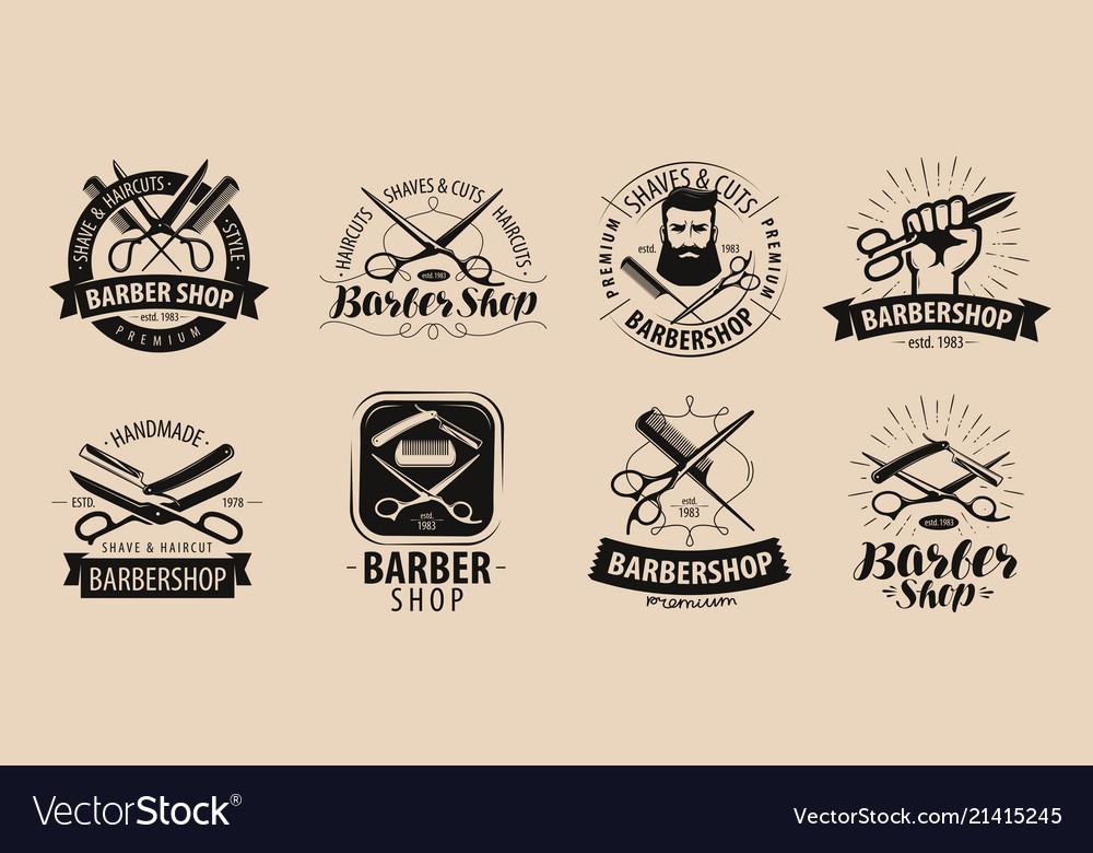Barbershop hairdressing salon logo or label.