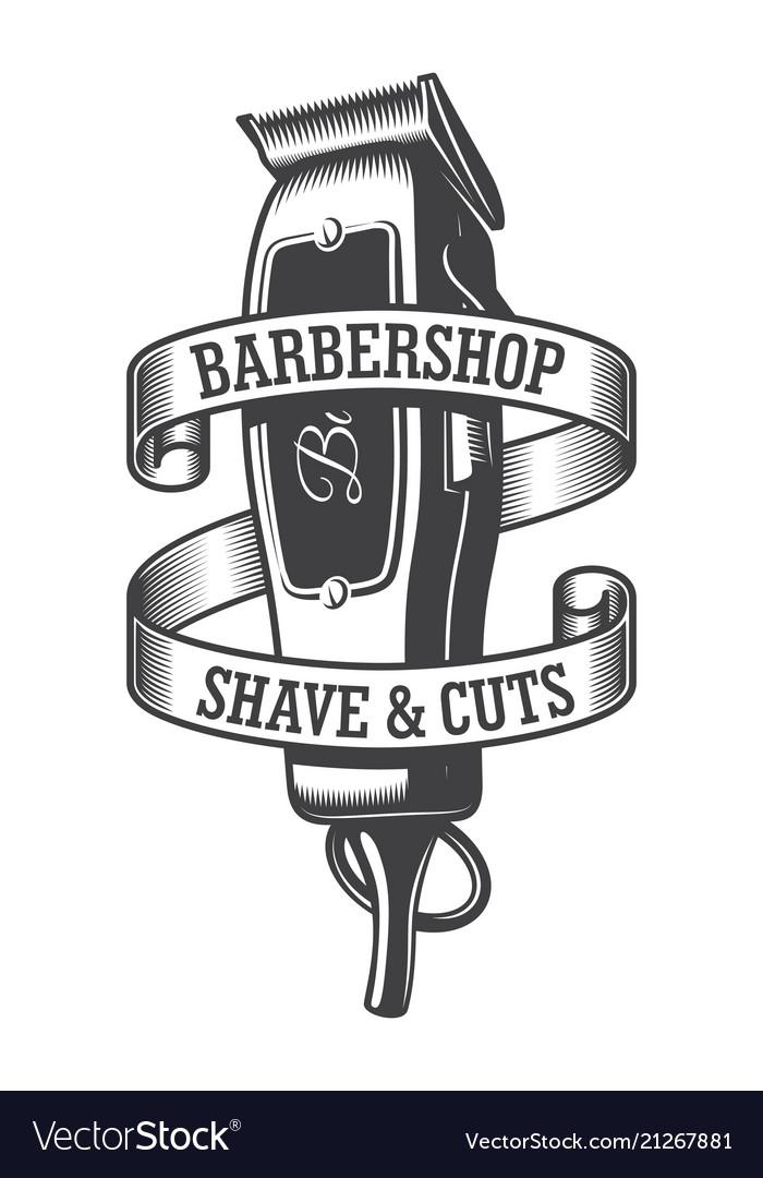 Vintage monochrome hairdresser salon logo.