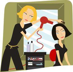 Hairdressers Cutting Hair Clipart.