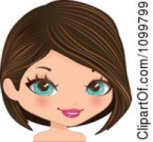Brown hair green eyes clipart.