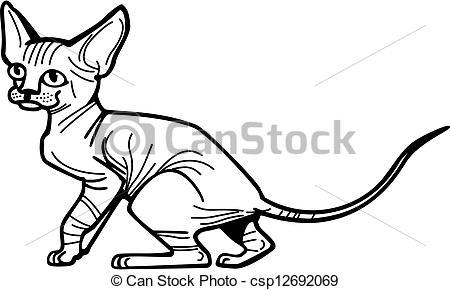 Clip Art Vector of Sphynx Kitten.