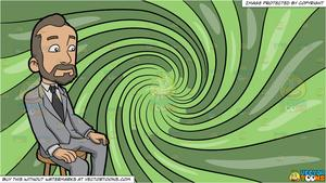 A Man With A Receding Hairline and A Psychedelic Swirl Background.