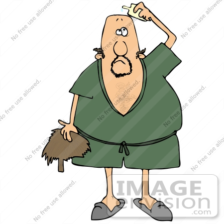 Clip Art Graphic of a Bald Caucasian Man In A Green Robe And.