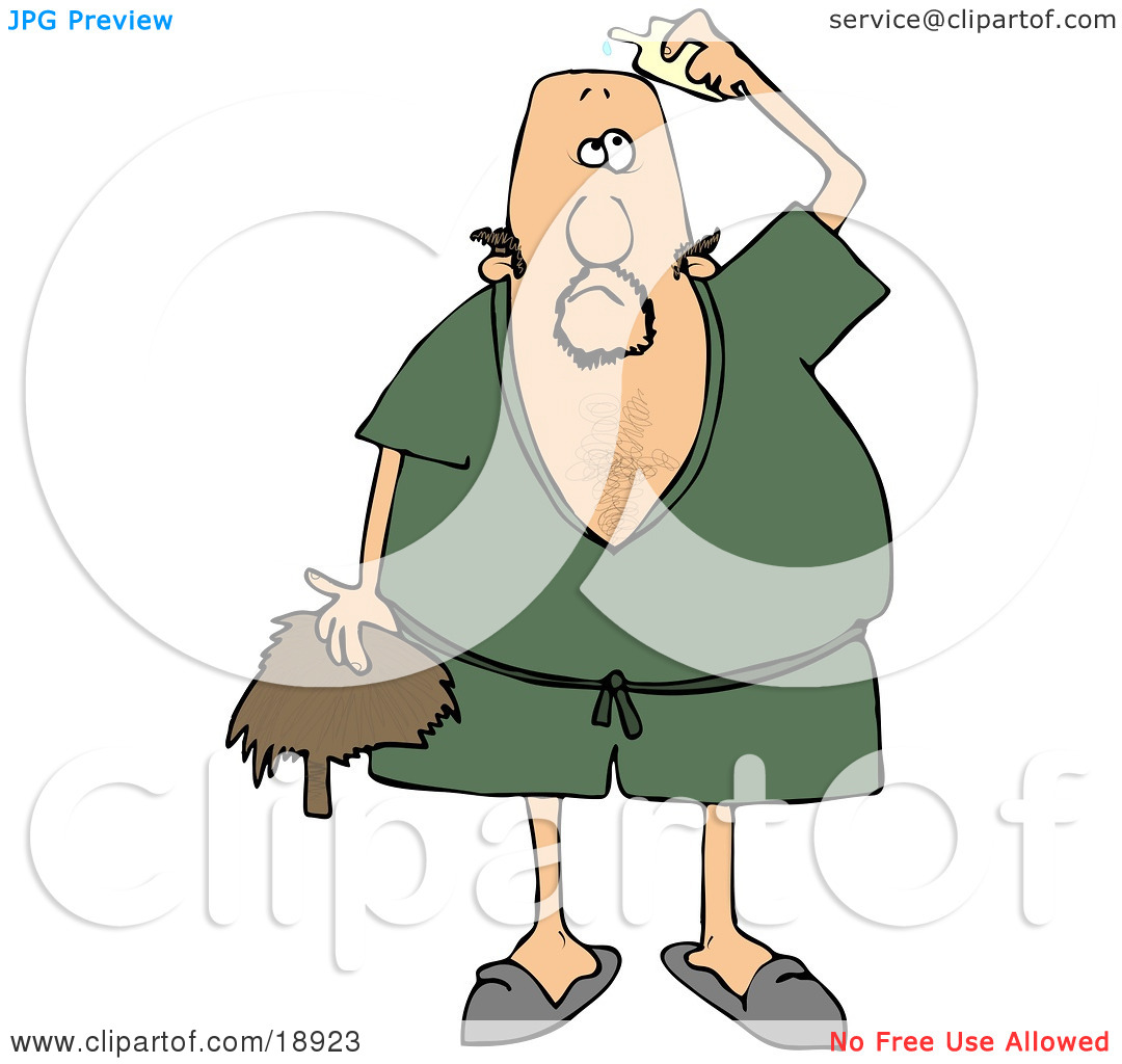 Clipart Illustration of a Caucasian Man Wearing A Green Robe And.