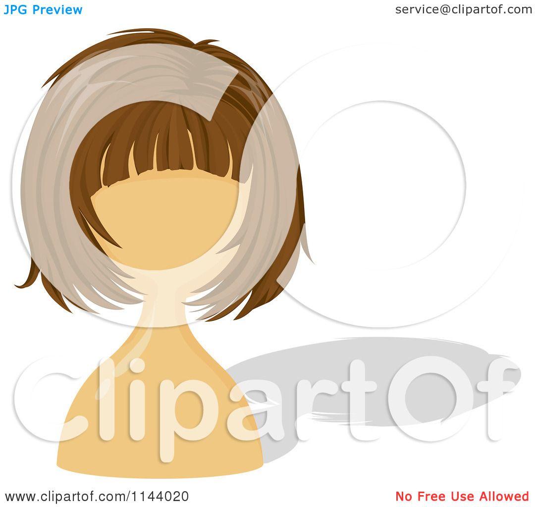 Cartoon Of A Brunette Wig On A Mannequin.