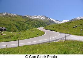 Stock Photography of Maloja pass road hairpin turns , Switzerland.