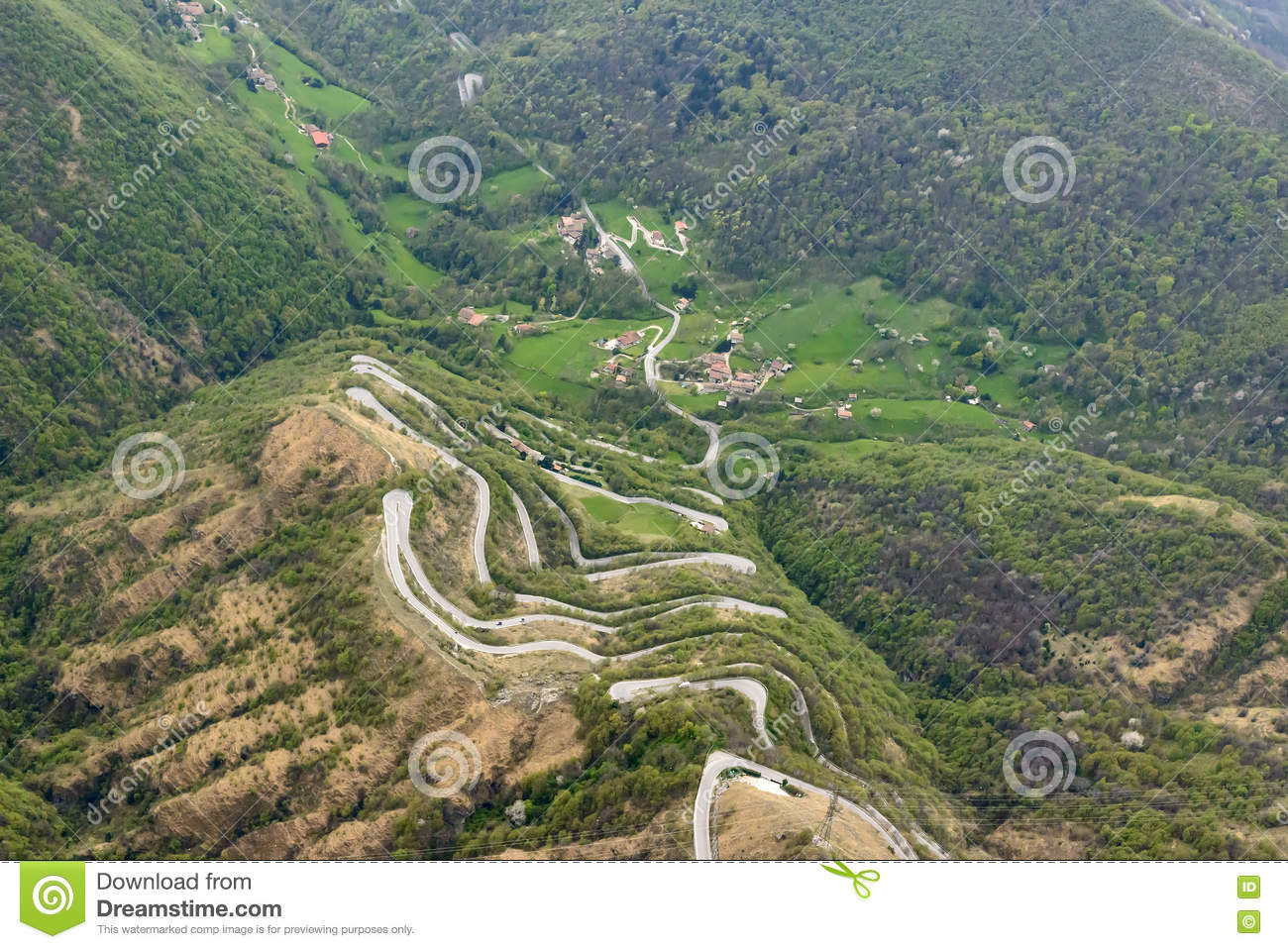 Hairpin Turns On Road To Selvino, Orobie Stock Photo.