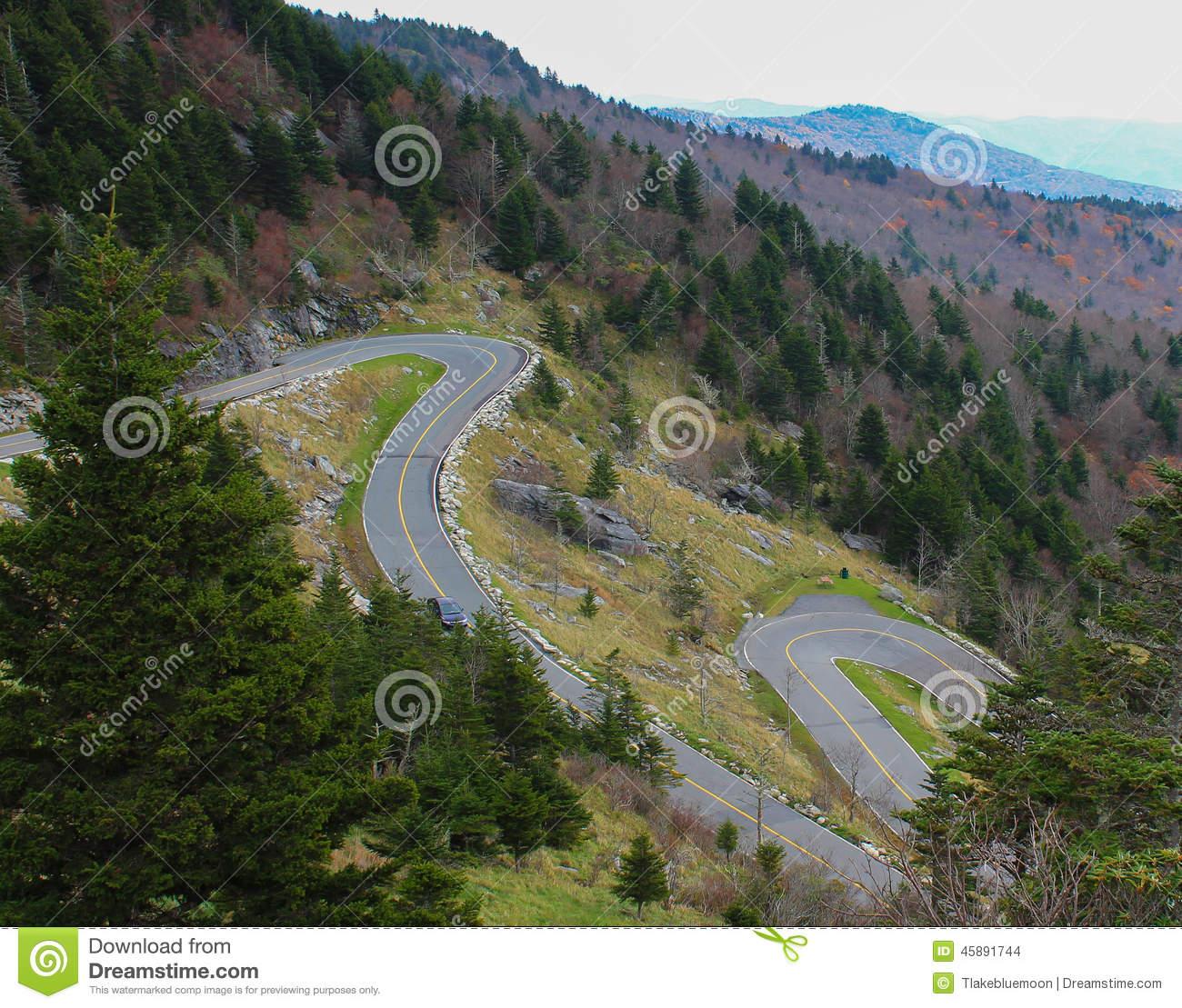 Hairpin Turns On A Mountain Range Stock Photo.