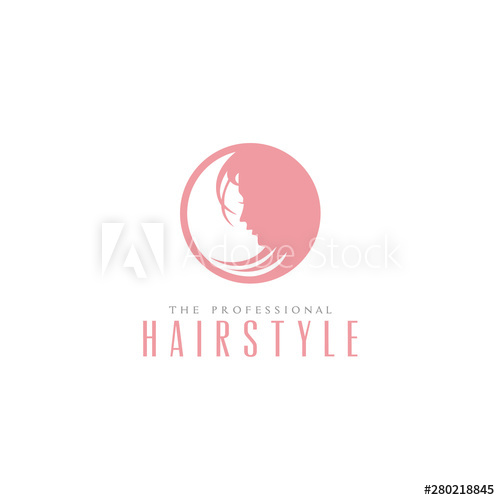 Beauty Woman Silhouette Face with Hair for Saloon Hairstyle.