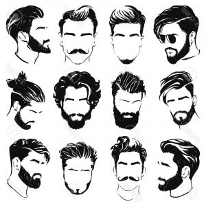 With Clipart Of Mens Hairstyles Vector Illustration Men.