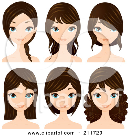 Cute curly hairstyles clipart.
