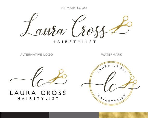 Rose Gold Hairstylist Logo Design, Scissors Premade Logo.