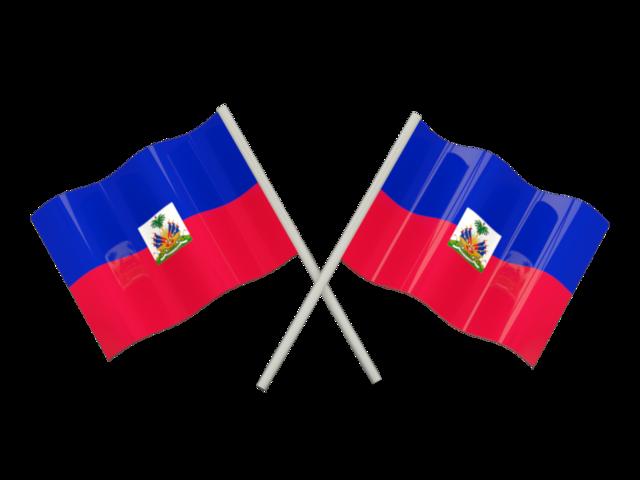 Two wavy flags. Illustration of flag of Haiti.
