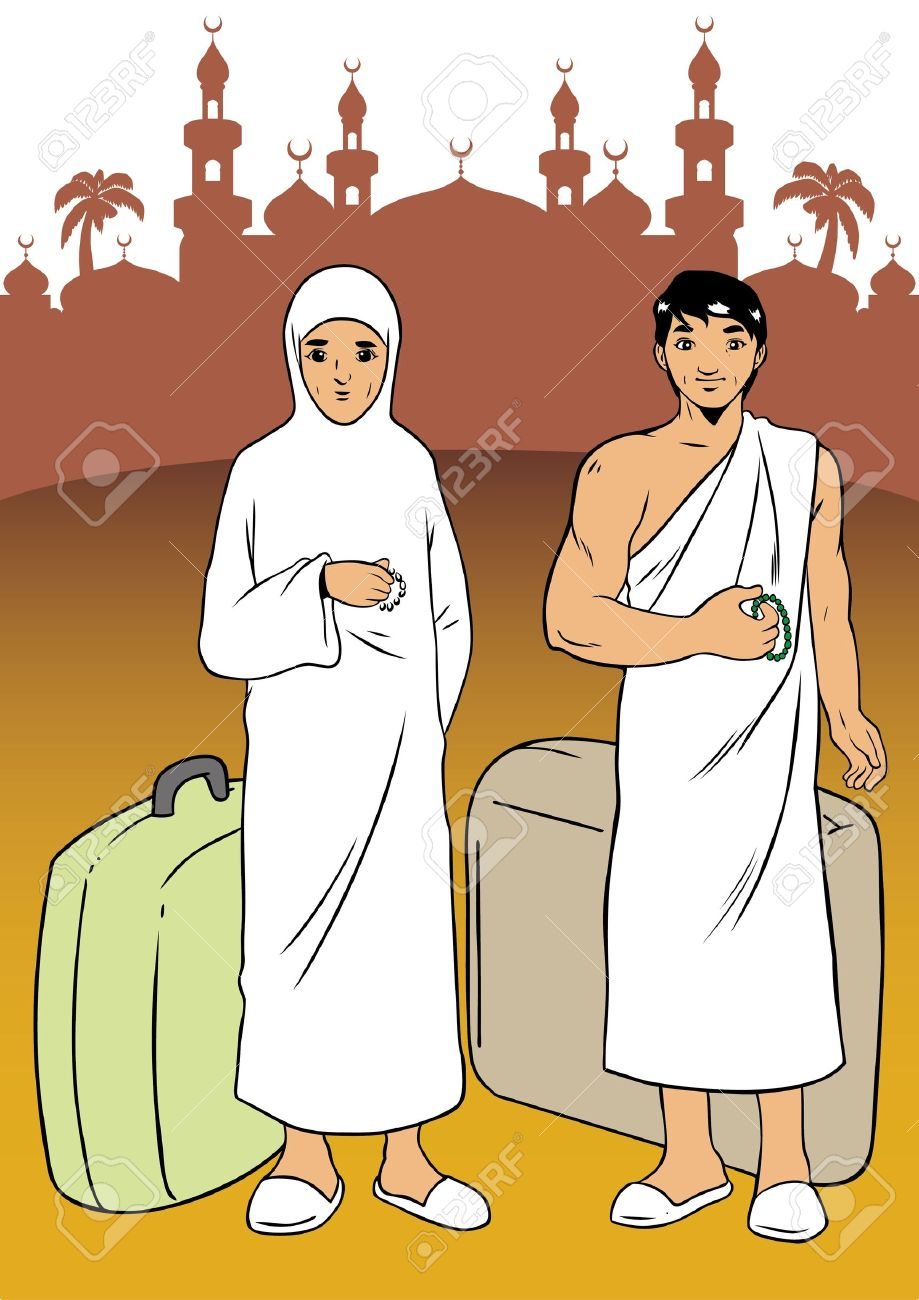 Asian Muslim Made The Pilgrimage To Mecca Royalty Free Cliparts.
