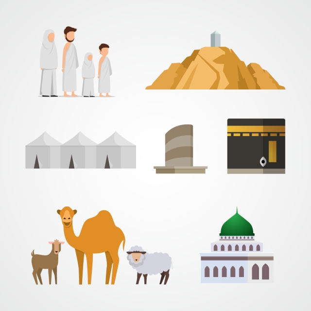 Hajj Vector Illustration Set For Infographic Elements Of Pilgrimage.