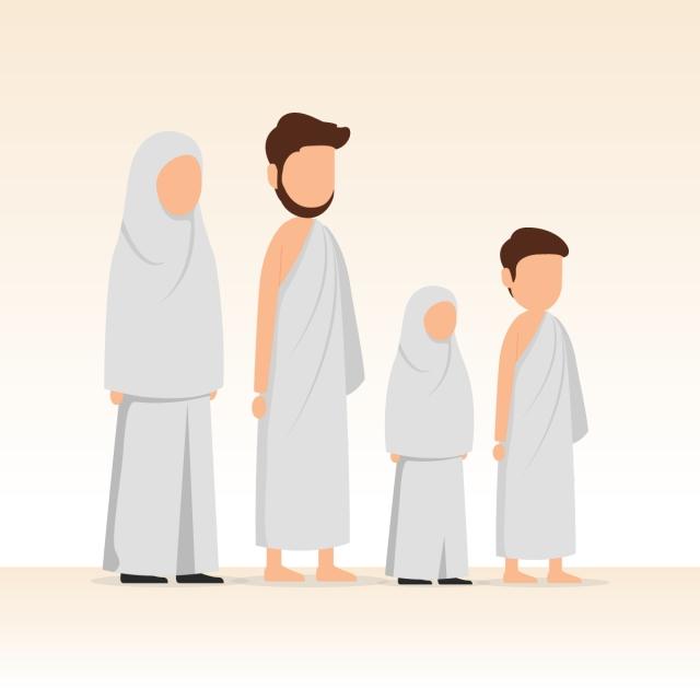 Muslim Family Wearing Ihram For Hajj And Umrah Pilgrimage Saudi.