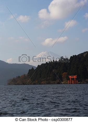 Picture of Japan Hakone Mt Fuji & Tori gate.