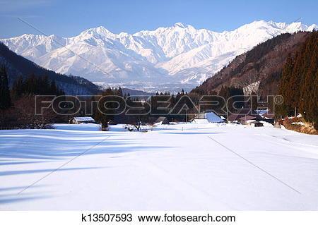 Stock Photo of Hakuba village in winter k13507593.