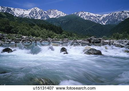 Picture of Hakuba mountain range and Matsugawa river, Nagano.