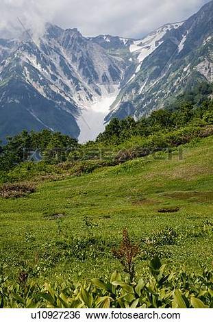 Stock Images of Snowy Valley of Hakuba Mountain Range u10927236.